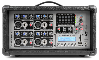 Power Dynamics PDM-C804A Powered Mixer 4-Kanaals  MP3/ECHO