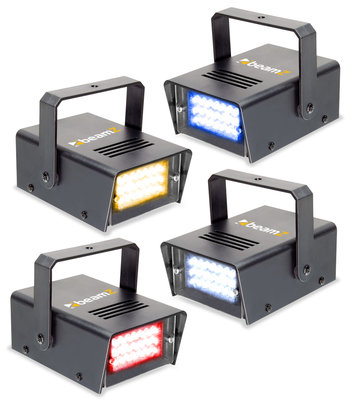BeamZ Set van 4 Mini LED Stroboscopes RYBW